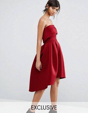 photo Bandeau Midi Skater Dress by True Violet, color Wine - Image 1