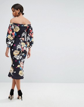photo Balloon Sleeve Bodycon Dress with Fishtail by True Violet, color Black Peony Print - Image 2