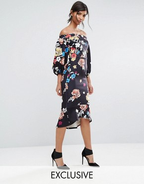 photo Balloon Sleeve Bodycon Dress with Fishtail by True Violet, color Black Peony Print - Image 1