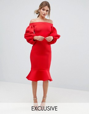 photo Balloon Sleeve Bodycon Dress with Pep Hem by True Violet, color Red - Image 1
