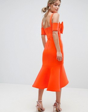 photo Bow Detail Midi Dress with Pep Hem by True Violet, color Orange - Image 2