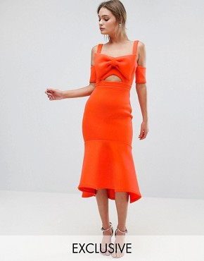 photo Bow Detail Midi Dress with Pep Hem by True Violet, color Orange - Image 1
