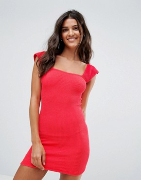 photo Crinkle Tab Shoulder Beach Dress by ASOS, color Watermelon Red - Image 1