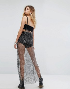 photo Maxi Dress in Glitter Sequin Mesh by Sacred Hawk, color Black - Image 2
