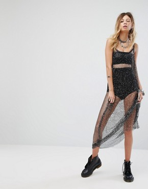 photo Maxi Dress in Glitter Sequin Mesh by Sacred Hawk, color Black - Image 1