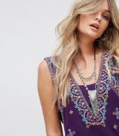 photo Never Been Embroidered Mini Dress by Free People, color Purple - Image 3