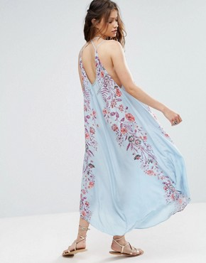 photo Ashbury Printed Maxi Slip Dress by Free People, color Blue Combo - Image 2