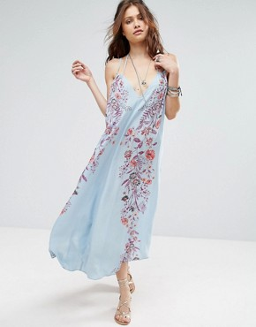 photo Ashbury Printed Maxi Slip Dress by Free People, color Blue Combo - Image 1