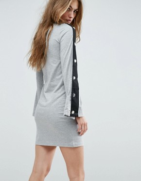 photo Mini Dress with Popper Sleeve and Cut Out by ASOS, color Grey Marl - Image 2