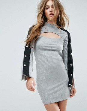 photo Mini Dress with Popper Sleeve and Cut Out by ASOS, color Grey Marl - Image 1