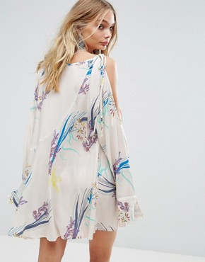 photo Clear Skies Cold Shoulder Printed Dress by Free People, color Neutral - Image 2