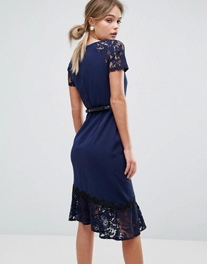 photo Short Sleeve Lace Dress with Crochet Trim by Paper Dolls, color Navy - Image 2