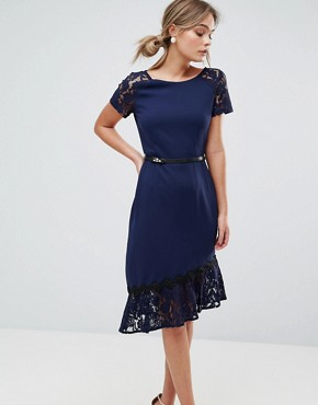 photo Short Sleeve Lace Dress with Crochet Trim by Paper Dolls, color Navy - Image 1