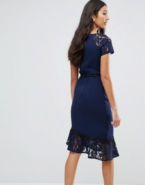 photo Short Sleeve Lace Dress with Crochet Trim by Paper Dolls Tall, color Navy - Image 2