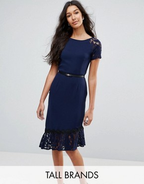 photo Short Sleeve Lace Dress with Crochet Trim by Paper Dolls Tall, color Navy - Image 1