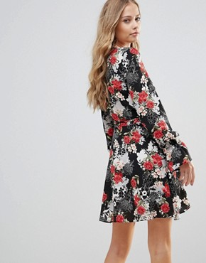 photo Tie Waist Wrap Dress in Floral Print by Oh My Love, color Large Nude Floral - Image 2