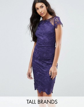 photo Cap Sleeve Lace Dress by Paper Dolls Tall, color Plum - Image 1