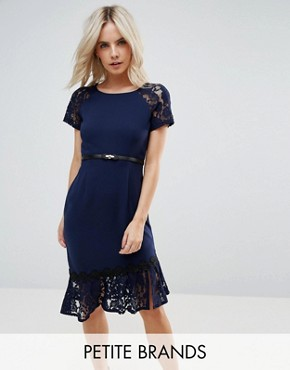 photo Short Sleeve Lace Dress with Crochet Trim by Paper Dolls Petite, color Navy - Image 1