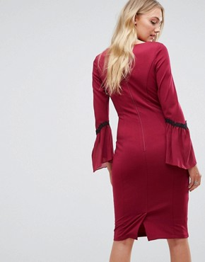 photo Long Sleeve Midi Dress by Paper Dolls Tall, color Wine - Image 2