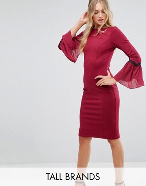 photo Long Sleeve Midi Dress by Paper Dolls Tall, color Wine - Image 1
