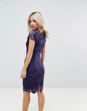 photo Cap Sleeve Lace Dress by Paper Dolls Petite, color Plum - Image 2