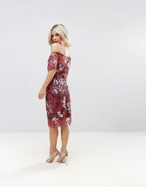 photo Bardot Floral Midi Lace Dress by Paper Dolls Petite, color Multi - Image 2