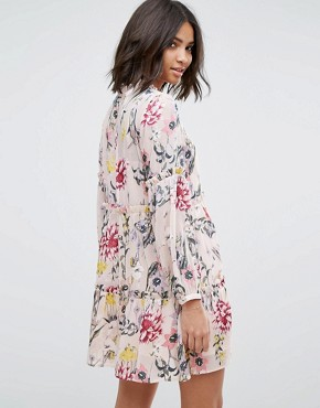 photo Floral Tiered Smock Dress by Miss Selfridge, color Print - Image 2