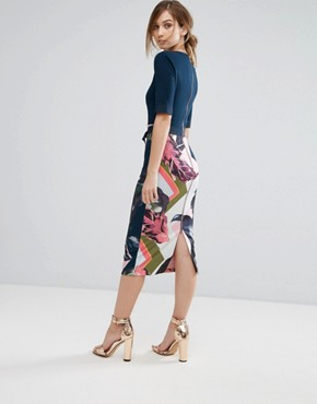 photo Pencil Dress in Contrast Print by Ted Baker, color Pale Pink - Image 2