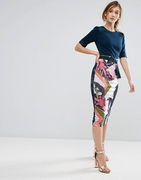 photo Pencil Dress in Contrast Print by Ted Baker, color Pale Pink - Image 1