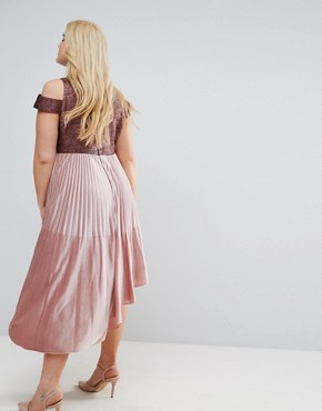 photo Delores Velvet Pleated Dress by Coast Plus, color Pink - Image 2