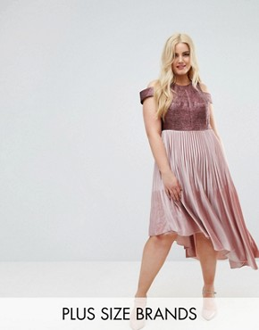 photo Delores Velvet Pleated Dress by Coast Plus, color Pink - Image 1