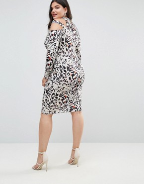 photo Midi Dress in Animal Print with Cut Away Neck by ASOS CURVE, color Multi - Image 2