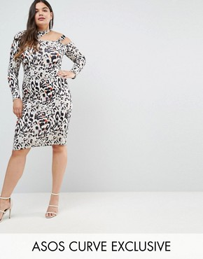 photo Midi Dress in Animal Print with Cut Away Neck by ASOS CURVE, color Multi - Image 1
