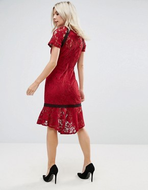 photo Cap Sleeve Lace Dress with Crochet Trim by Paper Dolls Petite, color Wine - Image 2
