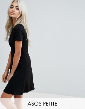 photo Mini Tea Dress by ASOS PETITE ULTIMATE, color Black - Image 1