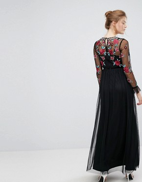 photo Premium Embroidered High Neck Long Sleeve Maxi Dress by Frock and Frill, color Black - Image 2