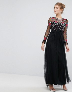 photo Premium Embroidered High Neck Long Sleeve Maxi Dress by Frock and Frill, color Black - Image 1