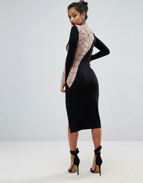photo Flocked Spider Web Mesh Back Midi Dress by ASOS PETITE HALLOWEEN, color Black - Image 2