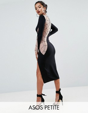 photo Flocked Spider Web Mesh Back Midi Dress by ASOS PETITE HALLOWEEN, color Black - Image 1