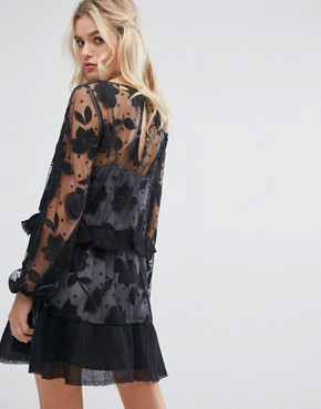 photo Contrast Floral Embroidered Spot Mesh Mini Dress by Stevie May, color Black/Dove - Image 2