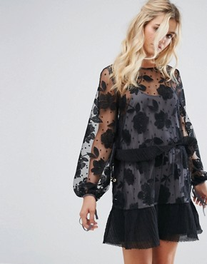 photo Contrast Floral Embroidered Spot Mesh Mini Dress by Stevie May, color Black/Dove - Image 1
