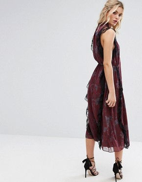 photo Crinkle Chiffon Printed Midi Dress with Tie by Stevie May, color Dark Botanical Print - Image 2