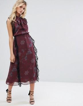 photo Crinkle Chiffon Printed Midi Dress with Tie by Stevie May, color Dark Botanical Print - Image 1