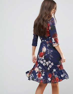 photo Wrap Midi Dress with Ruffle by QED London, color Navy Floral Print - Image 2