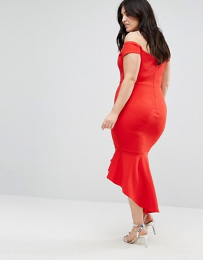 photo Off Shoulder Ruffle Midi Dress by John Zack Plus, color Red - Image 2