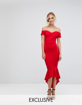 photo Off Shoulder Ruffle Midi Dress by John Zack Tall, color Red - Image 1