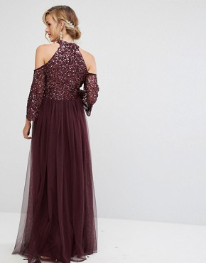 photo Cold Shoulder Maxi Dress in Tonal Delicate Sequin with Tulle Skirt and Kimono Sleeve by Maya Maternity, color Berry - Image 2