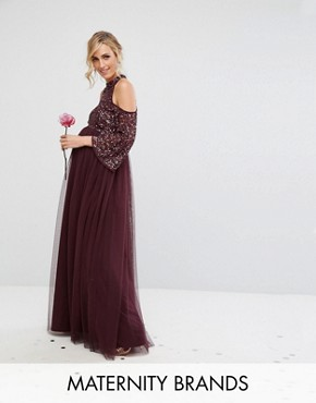 photo Cold Shoulder Maxi Dress in Tonal Delicate Sequin with Tulle Skirt and Kimono Sleeve by Maya Maternity, color Berry - Image 1