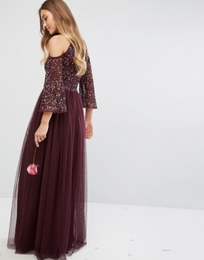 photo Cold Shoulder Maxi Dress in Tonal Delicate Sequin with Tulle Skirt and Kimono Sleeve by Maya Tall, color Berry - Image 2