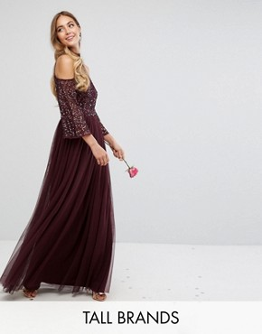 photo Cold Shoulder Maxi Dress in Tonal Delicate Sequin with Tulle Skirt and Kimono Sleeve by Maya Tall, color Berry - Image 1